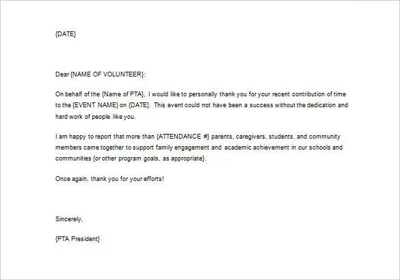 Volunteer Thank You Letter \u2013 11+ Free Sample, Example Format - volunteer thank you letter