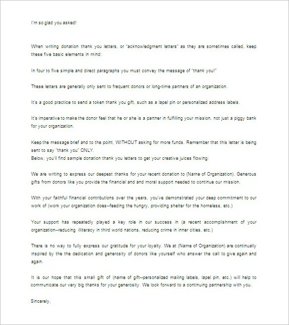 Donor Thank You Letter \u2013 10+ Free Sample, Example Format Download - thank you letter template