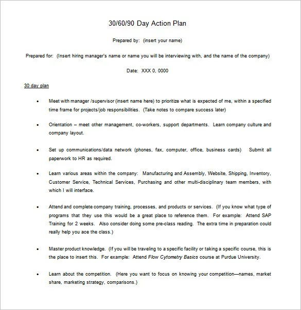 30 60 90 Day Action Plan u2013 6+ Free Word, Excel, PDF Format - plan of action format