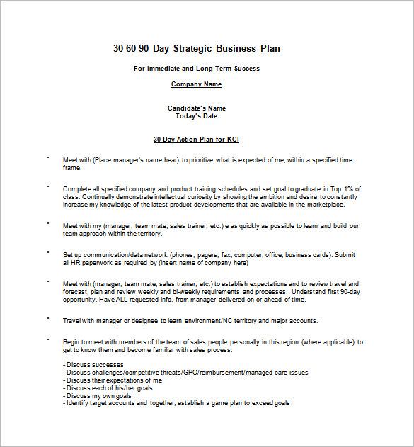 8+ 30 60 90 Day Action Plan Templates - DOC, PDF Free  Premium