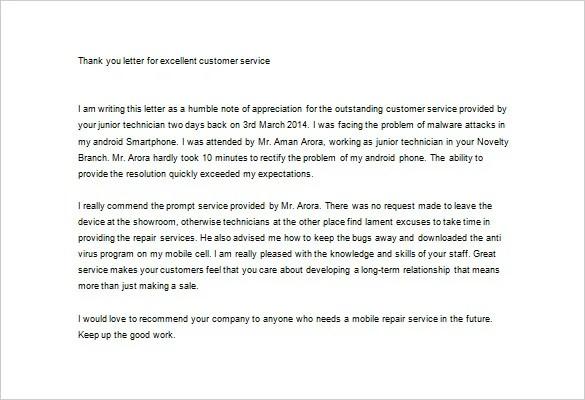 customer service appreciation letter - Ozilalmanoof - customer service letter