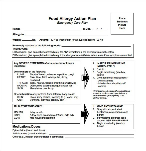Allergy Action Plan Template - 9+ Free Word, Excel, PDF Format - action plan in pdf