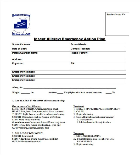 Allergy Action Plan Template - 9+ Free Word, Excel, PDF Format