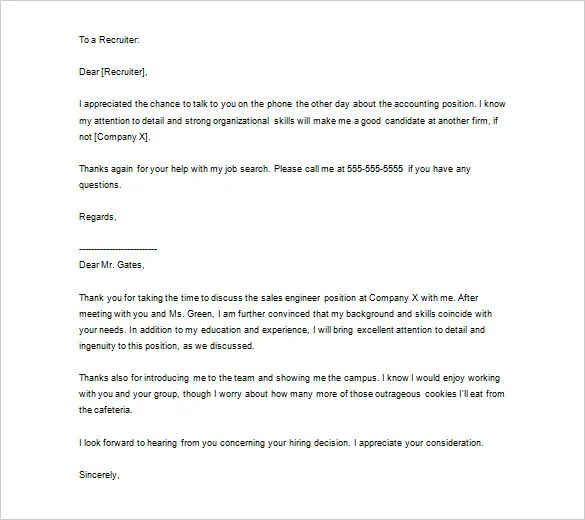 sample thank you letter to recruiter after getting the job - Ozil