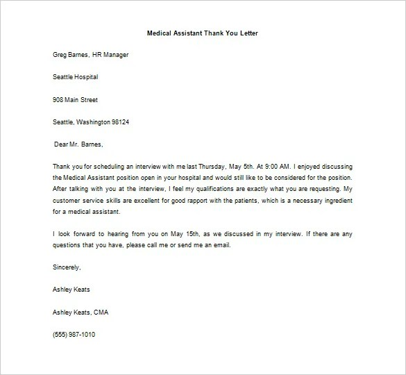 Medical Thank You Letter \u2013 10+ Free Sample, Example Format Download