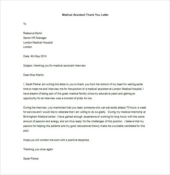 Medical Thank You Letter \u2013 10+ Free Sample, Example Format Download - Medical Assistant Thank You Letter Sample
