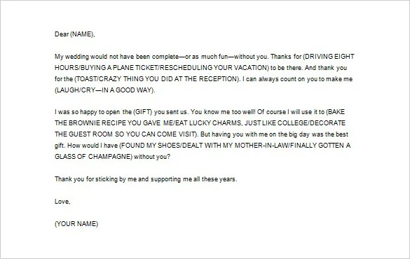 Wedding Thank You Letter \u2013 10+ Free Sample, Example Format Download