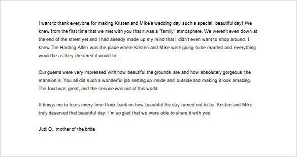 Wedding Thank You Letter \u2013 10+ Free Sample, Example Format Download - thank you letter to parents
