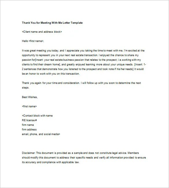Real Estate Thank You Letter \u2013 6+ Free Sample, Example Format