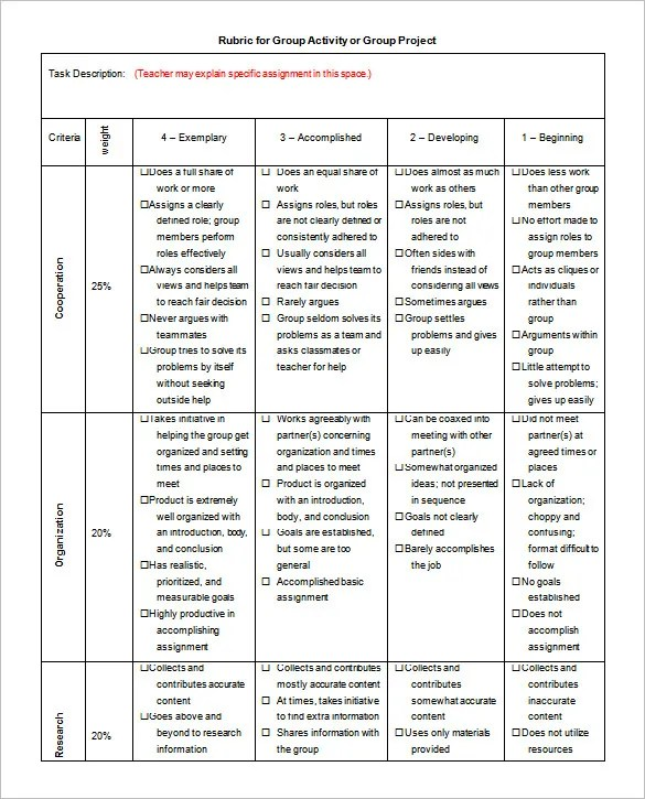 Rubric Template - 47+ Free Word, Excel, PDF Format Free  Premium - group activity evaluation template