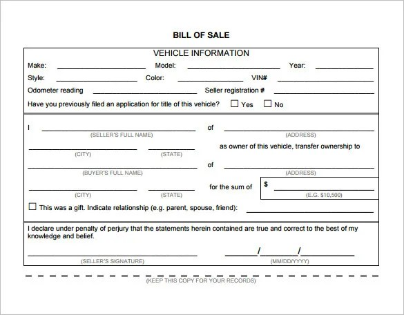 Bill of Sale Template - 44+ Free Word, Excel, PDF Documents