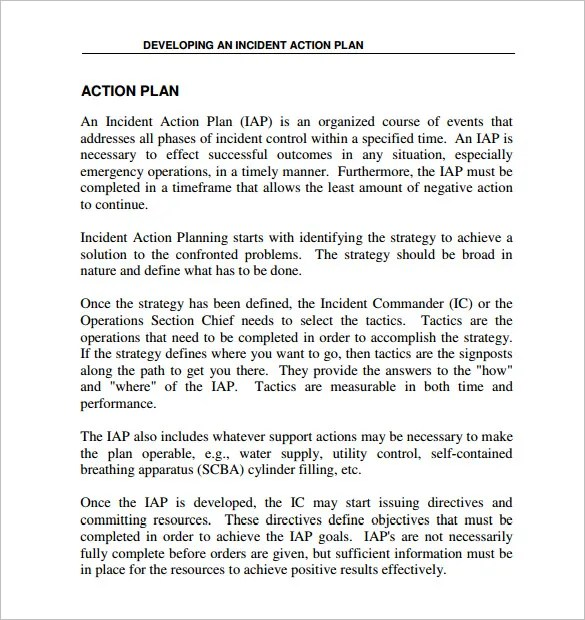 Incident Action Plan Template u2013 7+ Free Sample, Example, Format - plan of action format