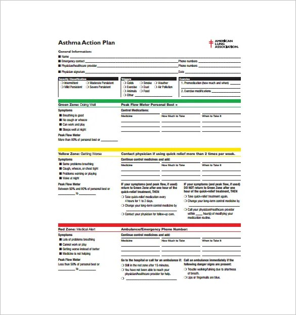 Asthma Action Plan Template U2013 13+ Free Sample, Example, Format   Free  Action