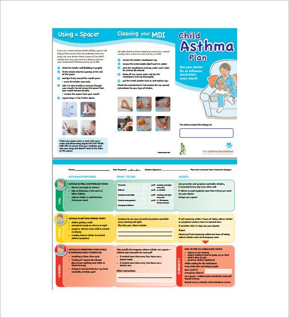 Asthma Action Plan Template u2013 13+ Free Sample, Example, Format - sample asthma action plan