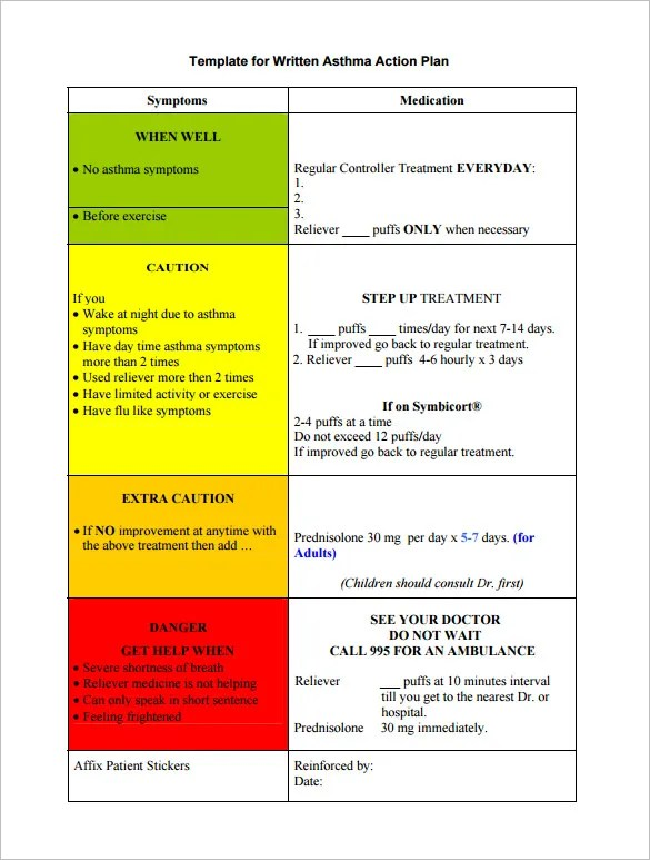 Asthma Action Plan Template \u2013 13+ Free Sample, Example, Format