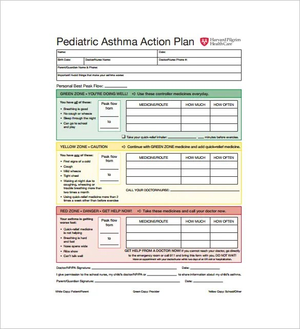 Sample Asthma Action Plan Cnmc Asthma Action Plan Upo Dc Asthma