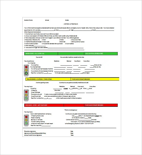 Asthma Action Plan Template u2013 13+ Free Sample, Example, Format - action plan sample template
