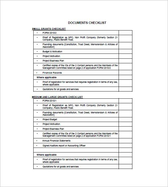 donation checklist template