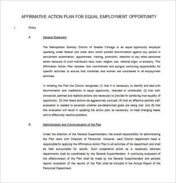 Affirmative Action Plan Template \u2013 7+ Free Sample, Example, Format