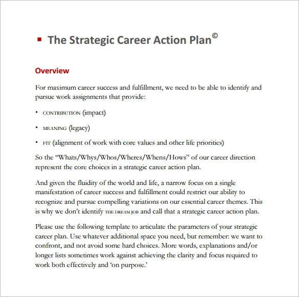 Career Action Plan Template - 14+ Free Sample, Example, Format