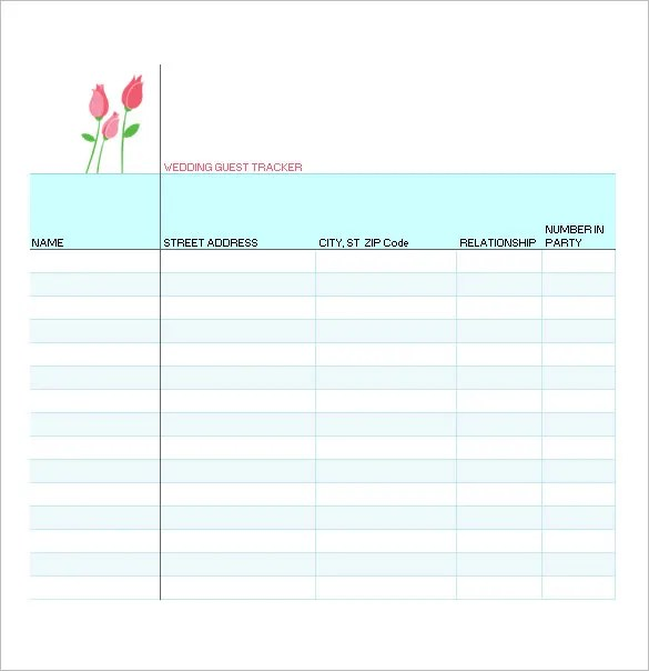 Wedding Guest List Template \u2013 10+ Free Word, Excel, PDF Format