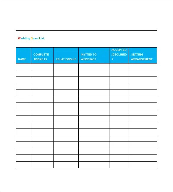 Wedding Guest List Template u2013 10+ Free Word, Excel, PDF Format - guest list sample
