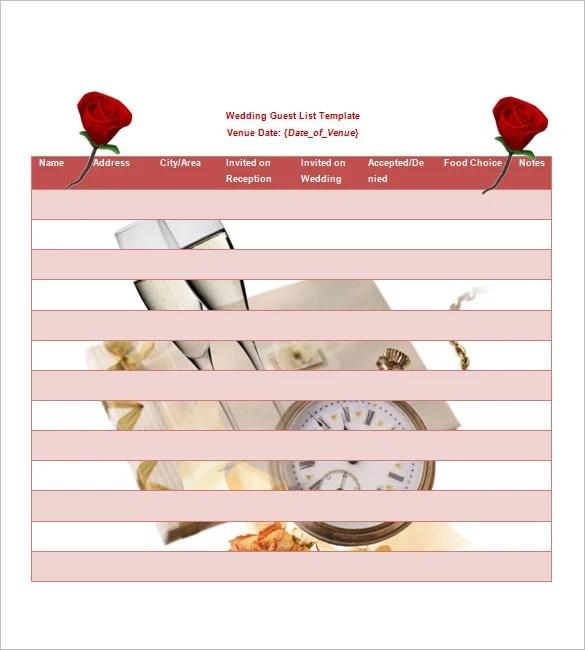 Wedding Guest List Template \u2013 10+ Free Word, Excel, PDF Format