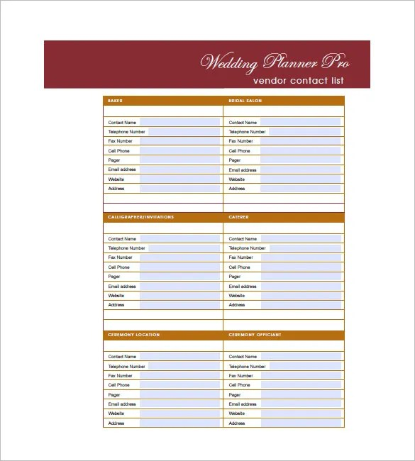 Wedding Guest List Template u2013 10+ Free Word, Excel, PDF Format - free contact list template