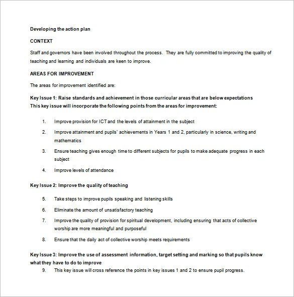 Sample Action Plan Primary School Action Plan Sample Template - Example Of An Action Plan Template
