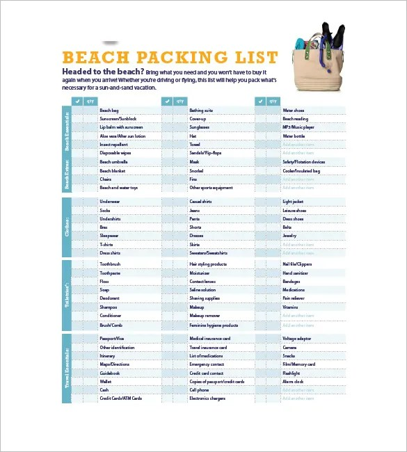Packing List Template - 10+ Free Word, Excel, PDF Format Download
