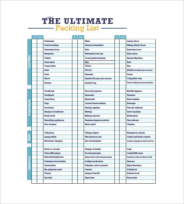 packing list template pdf - Romeolandinez - Packing Template