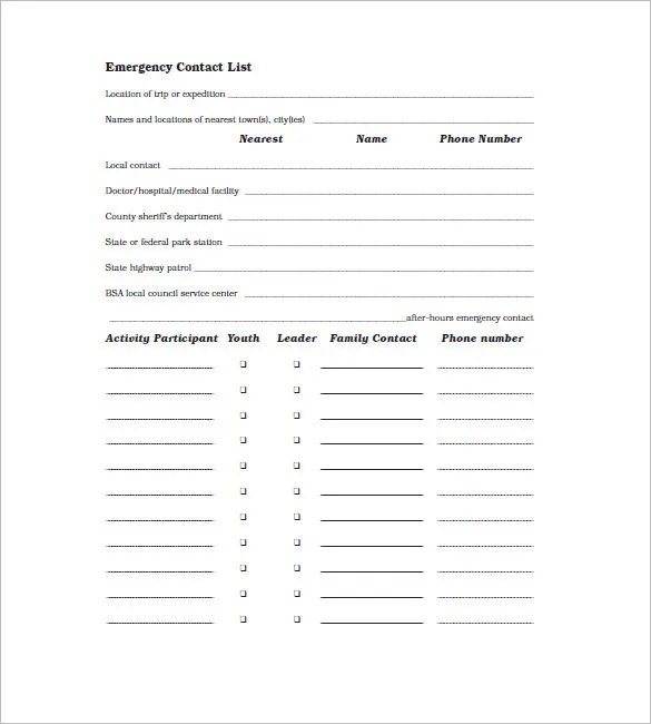 Contact List Template - 10+ Free Word, Excel, PDF Format Free - phone number list template