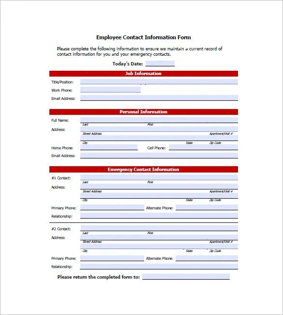 employee emergency contact information template