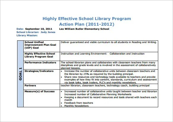 10+ School Action Plan Templates - PDF, DOC Free  Premium Templates - Example Of An Action Plan Template