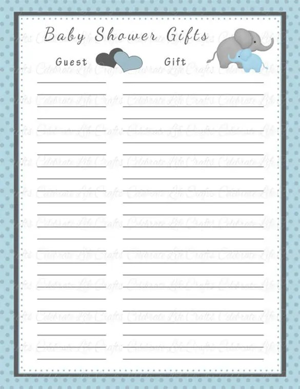 Baby Shower Gift List Template u2013 8+ Free Word, Excel, PDF Format - party guest list template