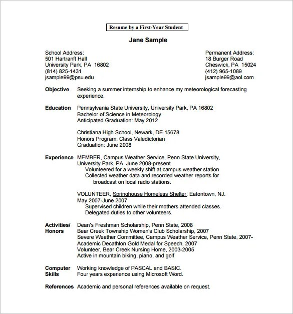 13+ College Resume Templates - PDF, DOC Free  Premium Templates - education resume template word