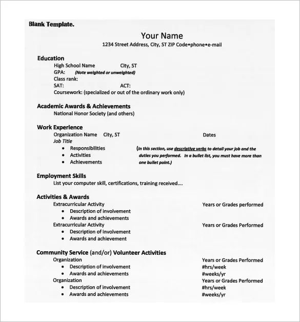 resume templates for university application