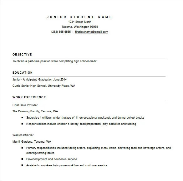 College Resume Template - 13+ Free Word, Excel, PDF Format Download
