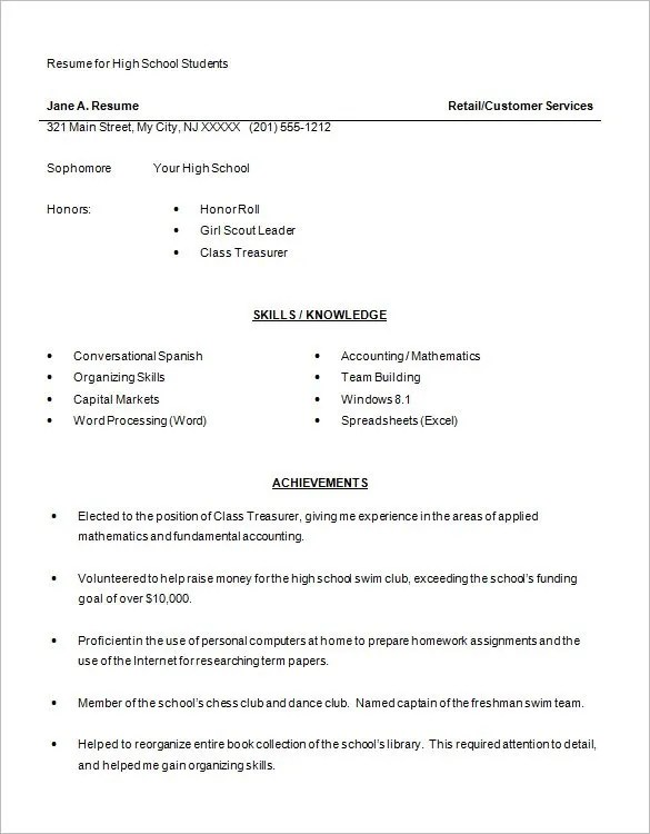 High School Resume Template \u2013 9+ Free Word, Excel, PDF Format - free word document resume templates