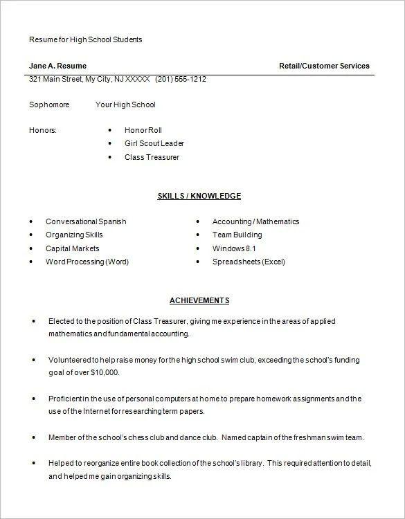high school student resume download
