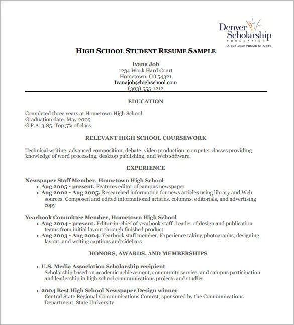 high school sample resume pdf
