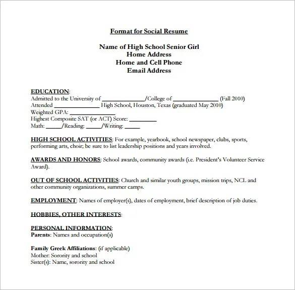 High School Resume Template \u2013 9+ Free Word, Excel, PDF Format