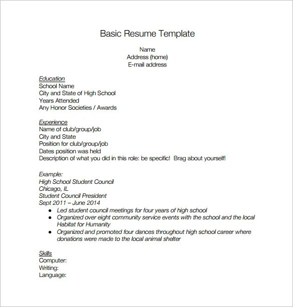 basic resume templates for high school students - 28 images - 13 - Resume High School Student Template