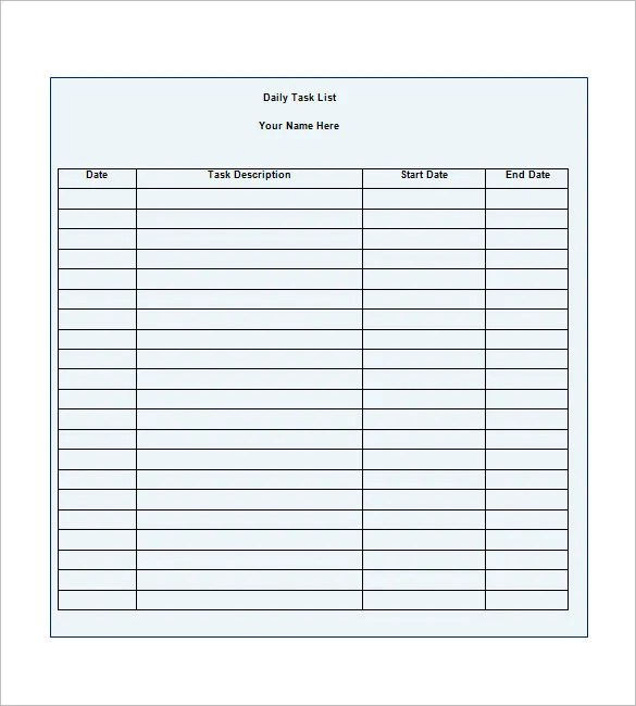 Daily Task Template Printable Daily Planner Template Printable
