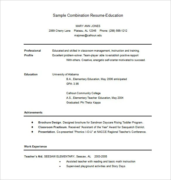 Combination Resume Template \u2013 10+ Free Word, Excel, PDF Format