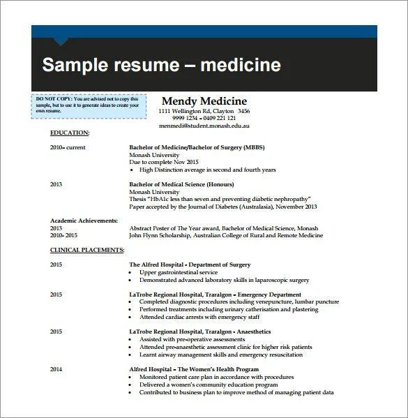 medicine resume sample
