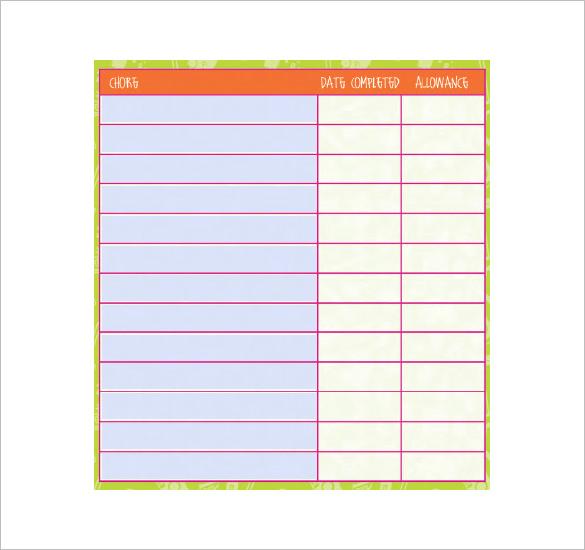 child chore chart template