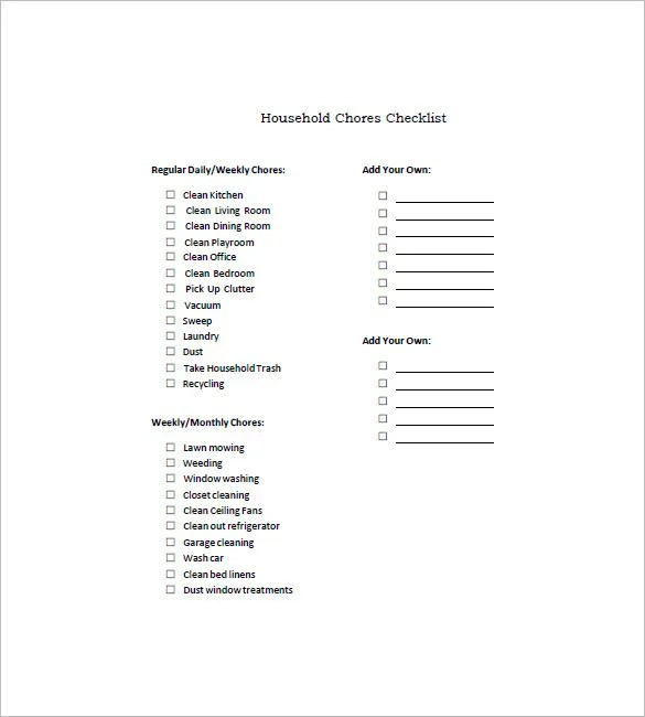 Chore List Template - 10+ Free Word, Excel, PDF Format Download - weekly household chore list