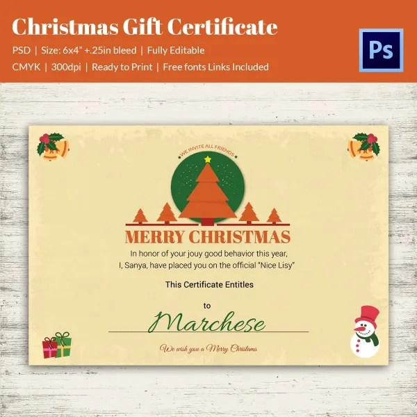 merry christmas gift certificate templates - zrom
