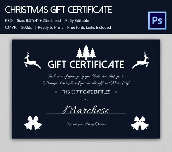 Christmas Gift Certificate Templates - 21+ PSD Format Download - Christmas Certificates Templates For Word